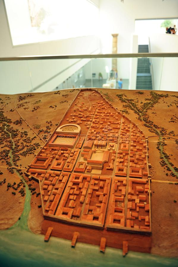 Scale model of the city inside the Baelo Claudia Visitor Center in Tarifa, province of Cádiz, Spain stock photo