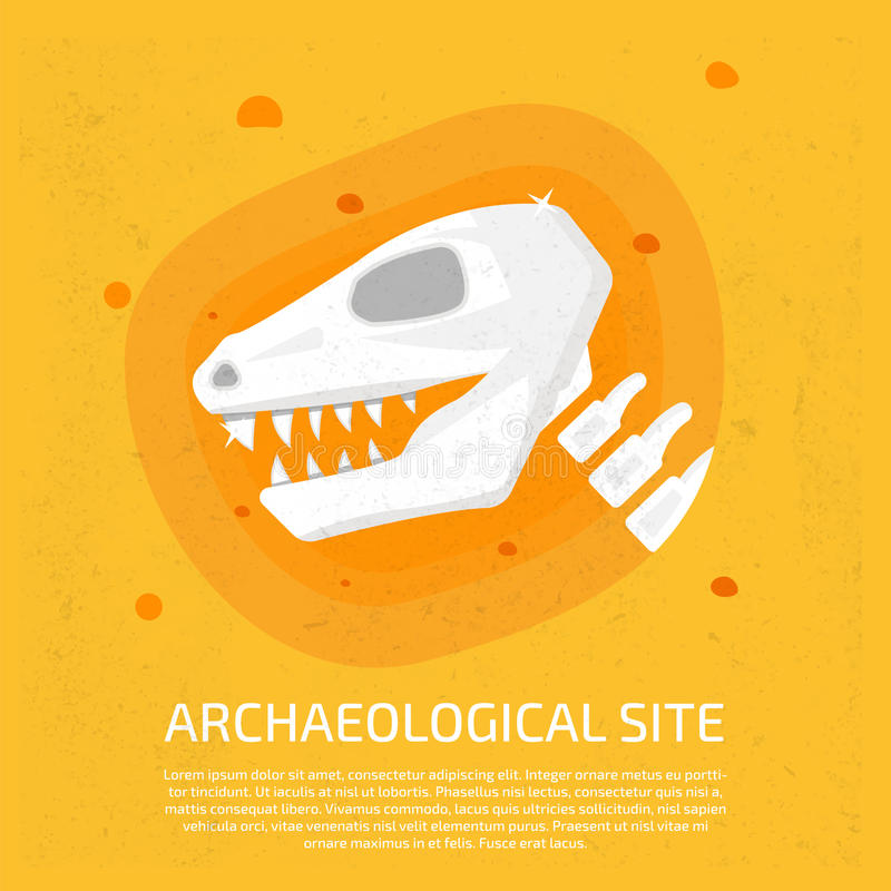 Archaeological site. Dinosaur icon. Archaeological vector illustration