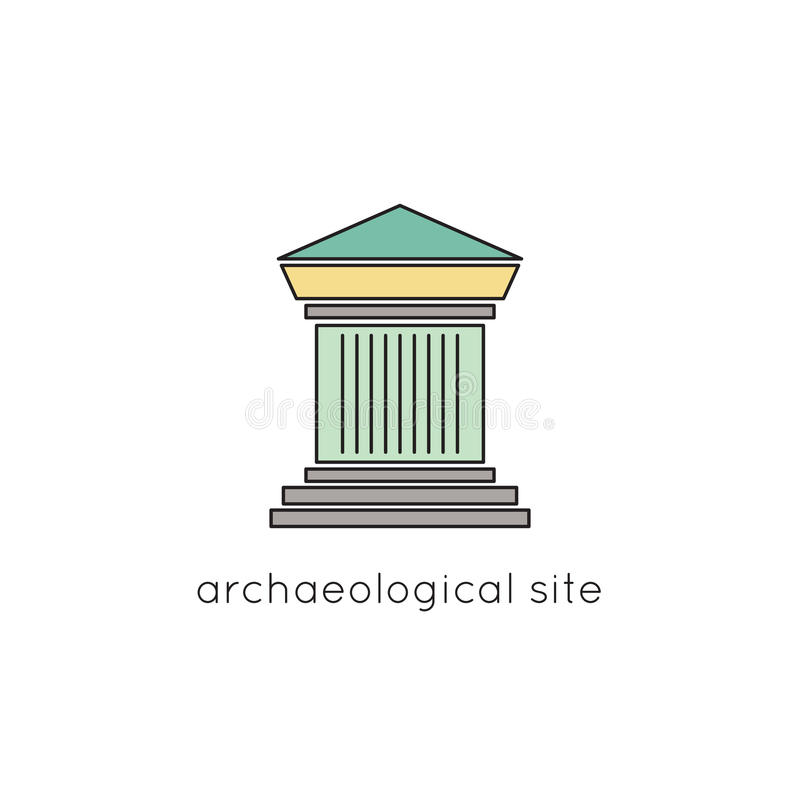 Archaeological site line icon. Archaeological site vector thin line icon. Colored isolated symbol. Logo template, element for travel agency products, tour royalty free illustration