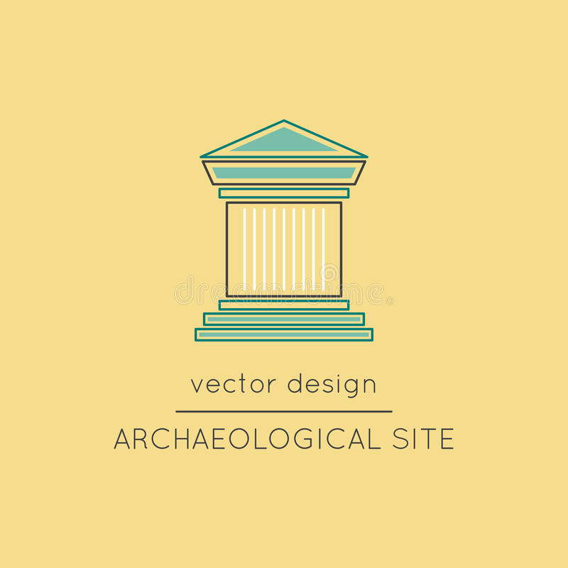 Archaeological site line icon. Archaeological site vector thin line icon. Colored symbol. Logo template, element for travel agency products, tour brochure royalty free illustration