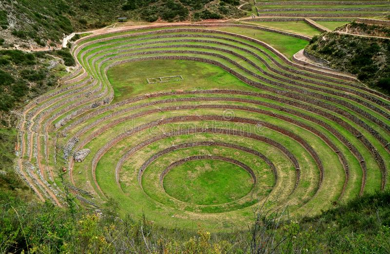 Archaeological site of Moray, The Incan terraces in the Sacred Valley, Cusco Region, Peru royalty free stock photography
