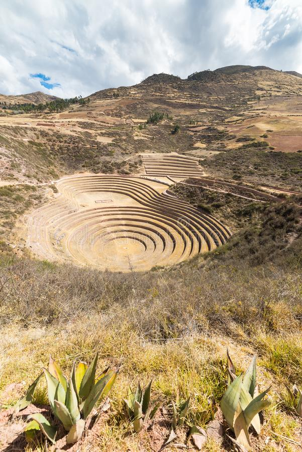 The archaeological site at Moray, travel destination in Cusco region and the Sacred Valley, Peru. Majestic concentric terraces, su stock photography