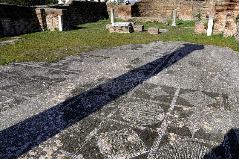 The archaeological site of Ostia Antica which was the old port of Rome in Italy stock images