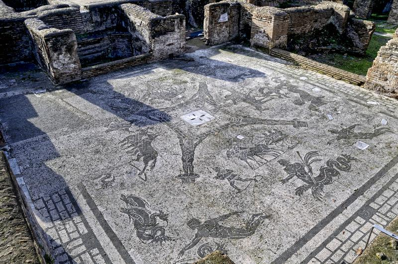 The archaeological site of Ostia Antica which was the old port of Rome in Italy. With the end of the Roman Empire, Ostia fell slowly into decay, and was finally stock photo