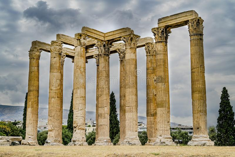 Temple of Zeus, Athens, Greece. Archaeological site and pillars of Temple of Zeus, Athens, Greece stock photo