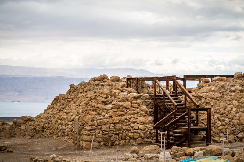 Archaeological site in Qumran National Park, Israel royalty free stock images