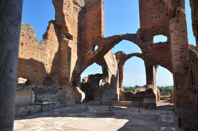 Archaeological site Rome, Villa dei Quintili, Appia Antica. Detail of an environment of the ruins of the Roman villa stock image
