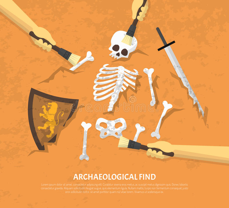 Archaeological Site Unearthed Finds Flat Illustration stock illustration