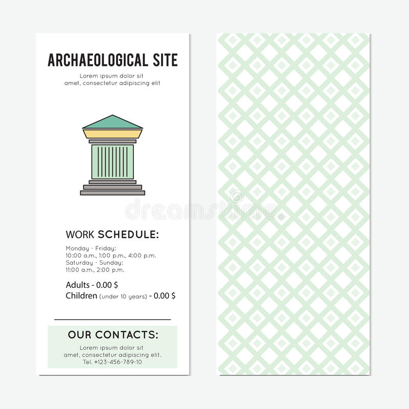 Archaeological site vertical banner. Archaeological site vector vertical banner template. The tour announcement. For travel agency products, tour brochure royalty free illustration