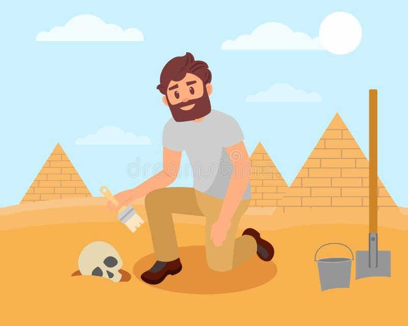 Archaeologist cleaning human skull from sandy soil. Archaeological excavations in Egyptian desert. Flat vector design stock illustration