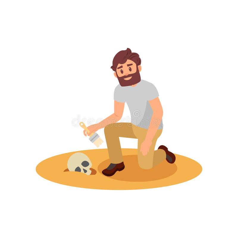 Archaeologist cleaning human skull from sandy soil. Young bearded man using brush. Flat vector design stock illustration