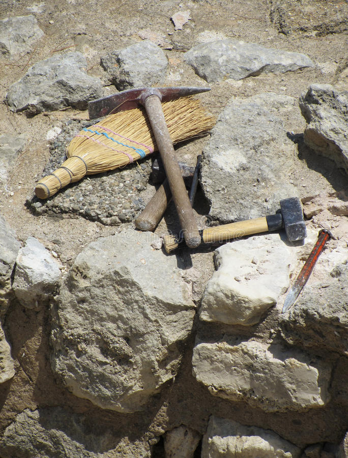 Download Archaeologist Tools On Excavation Site Stock Image - Image: 25659649