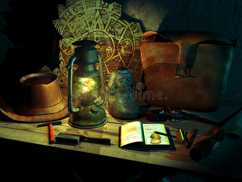 Archaeologist. Wooden table enlighted by a lamp, with archaeologic discoverings and tools, bag, hat and gun belonging to an archaeologist and adventurer royalty free illustration