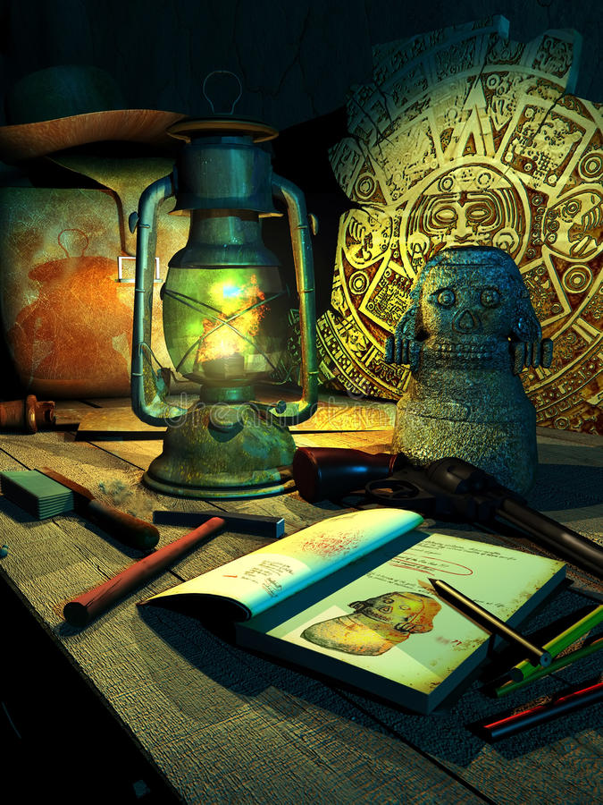 Archaeologist. Wooden table enlighted by a lamp, with archaeologic discoverings and tools, bag, hat and gun belonging to an archaeologist and adventurer stock illustration
