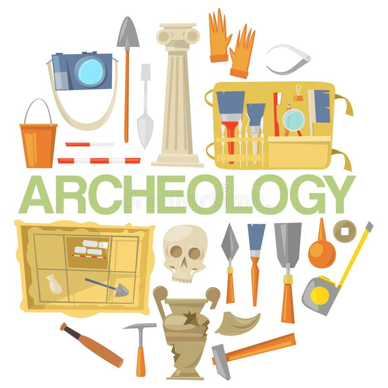 Archaeology icon set banner vector illustration. Archaeological tools, ancient artifacts isolated on white background. Supplies and tools for excavations such royalty free illustration