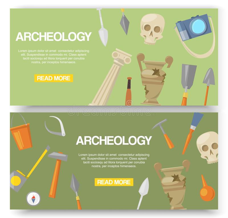 Archaeology set of banners vector illustration. Archaeological tools, ancient artifacts website design. Supplies and. Tools for excavations such as skull stock illustration