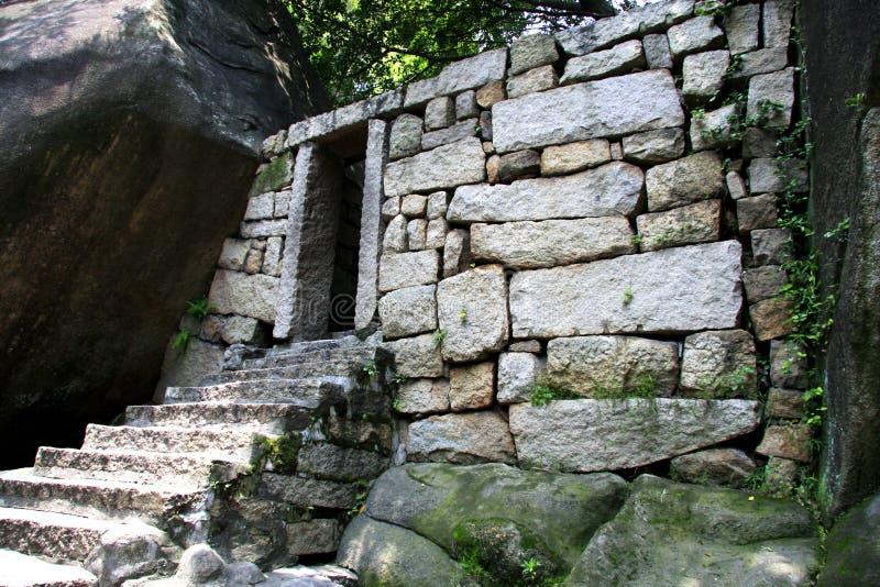 Archaeology Stone Door Stock Photo
