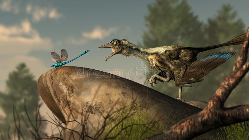 Archaeopteryx and Dragonfly. An archaeopteryx, a Jurassic era theropod dinosaur that looked much like a bird, lunges at a dragonfly at the end of a smooth river stock illustration