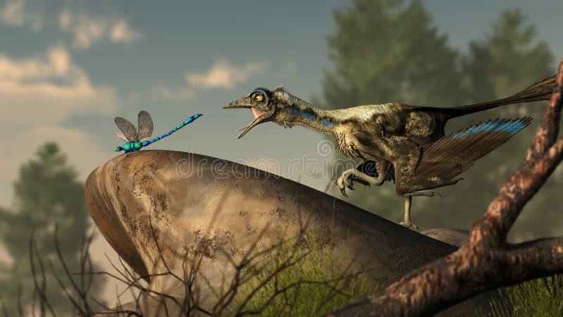Archaeopteryx und Libelle stock abbildung