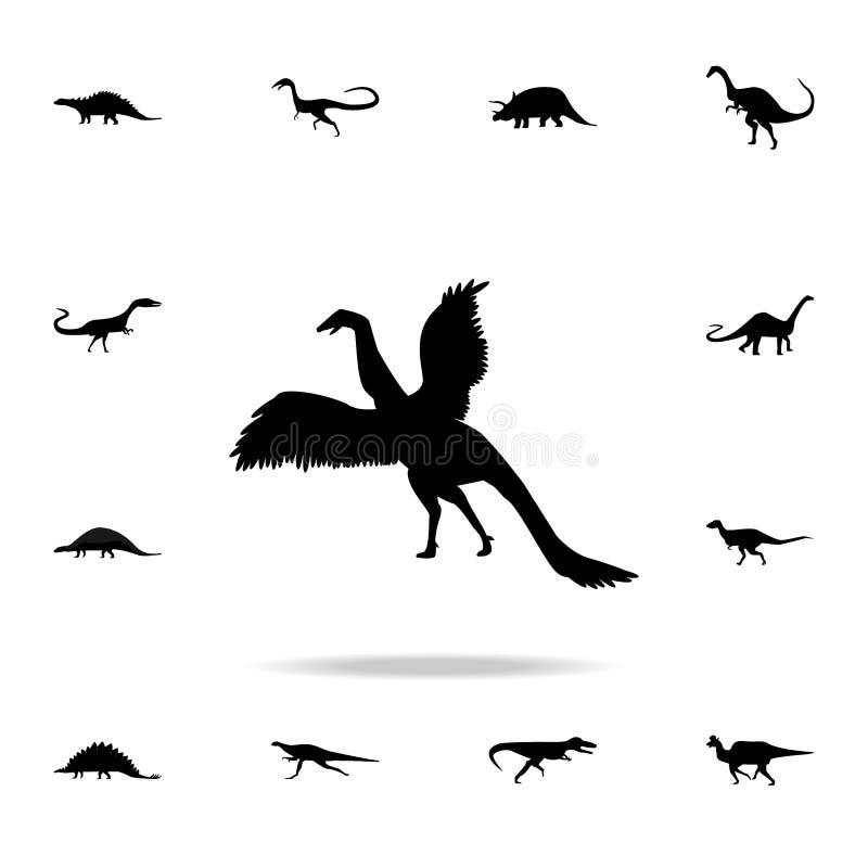 Archaeopteryxsymbol Detaljerad uppsättning av dinosauriesymboler Högvärdig grafisk design En av samlingssymbolerna för websites,  vektor illustrationer