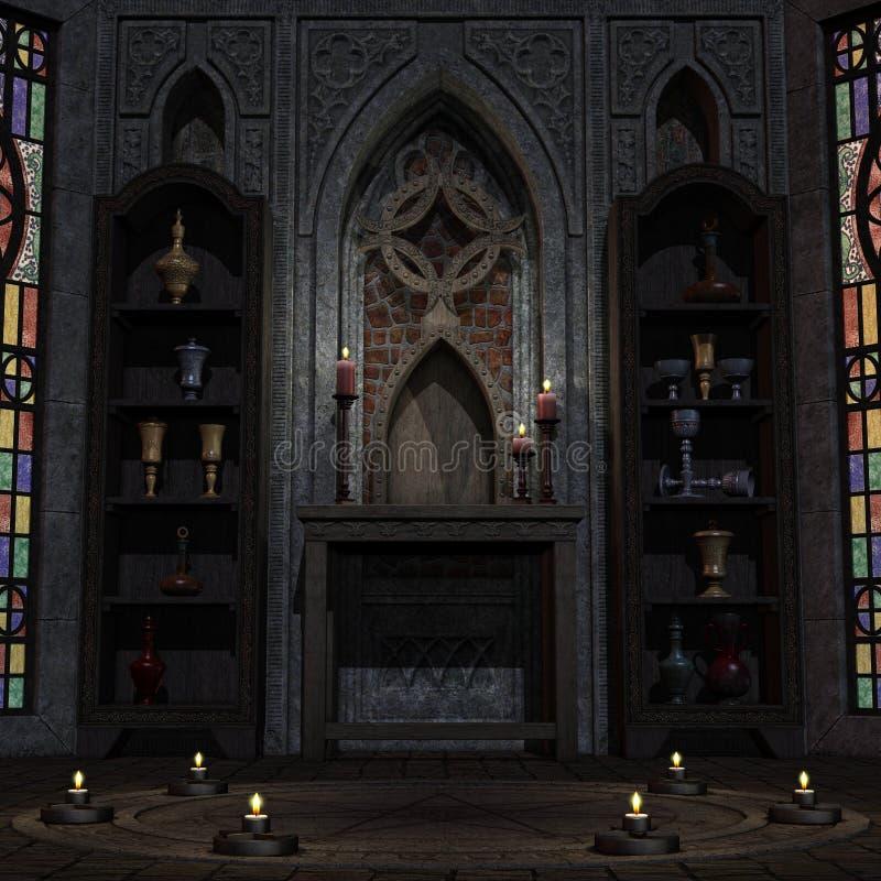 Archaic altar or sanctum in a fantasy setting stock illustration