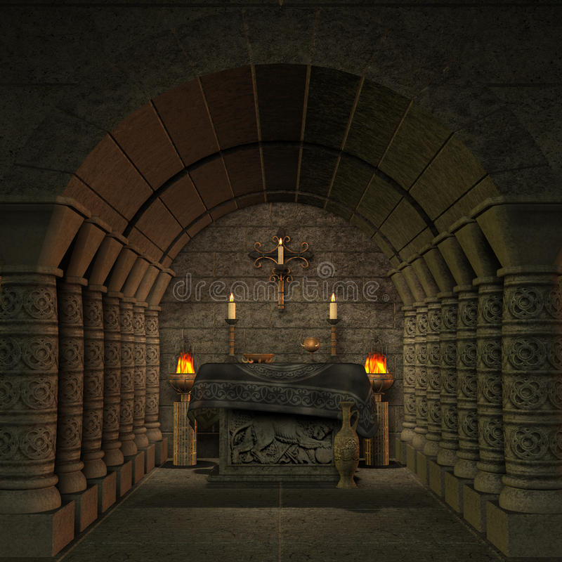 Archaic altar or sanctum in a fantasy setting royalty free illustration