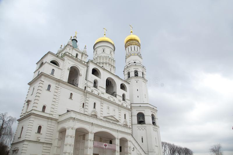 Archangel Cathedral and Ivan the Great Bell in the Moscow. Kremlin. Moscow. RUSSIA stock images