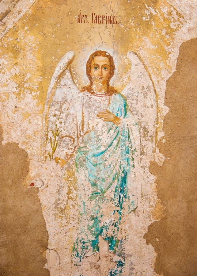 Archangel Gabriel. Ancient fresco of Archangel Gabriel at the gate of the Nikitsky Monastery in Pereslavl Zalessky royalty free stock image