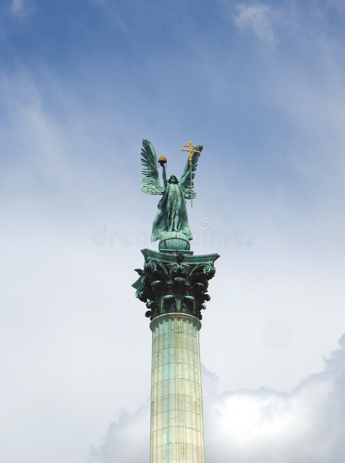 Archangel Gabriel - Heroes' Square, Budapest, Hungary stock photo