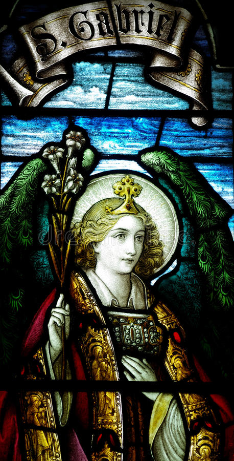 Archangel Gabriel in stained glass. A photo of Archangel Gabriel in stained glass royalty free stock image