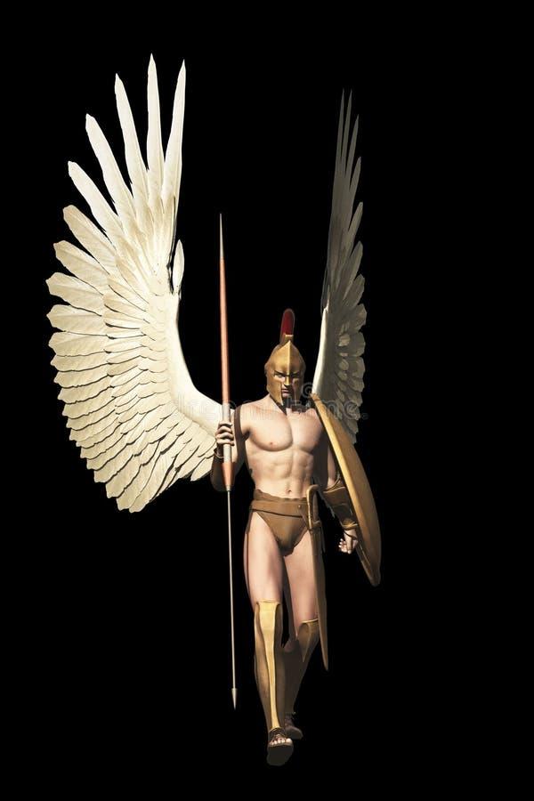 Archangel isolated on black vector illustration