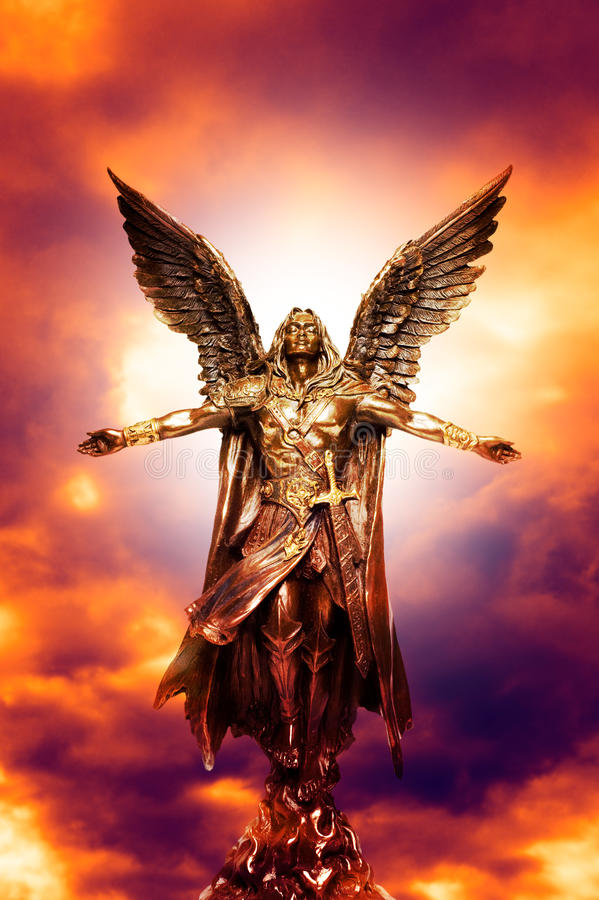 Archangel Michael. Angel archangel Michael with divine light royalty free stock images