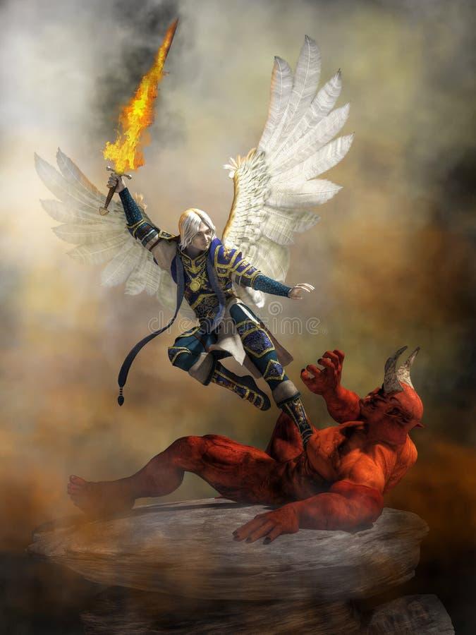 Archangel Michael Defeating Satan royalty free illustration