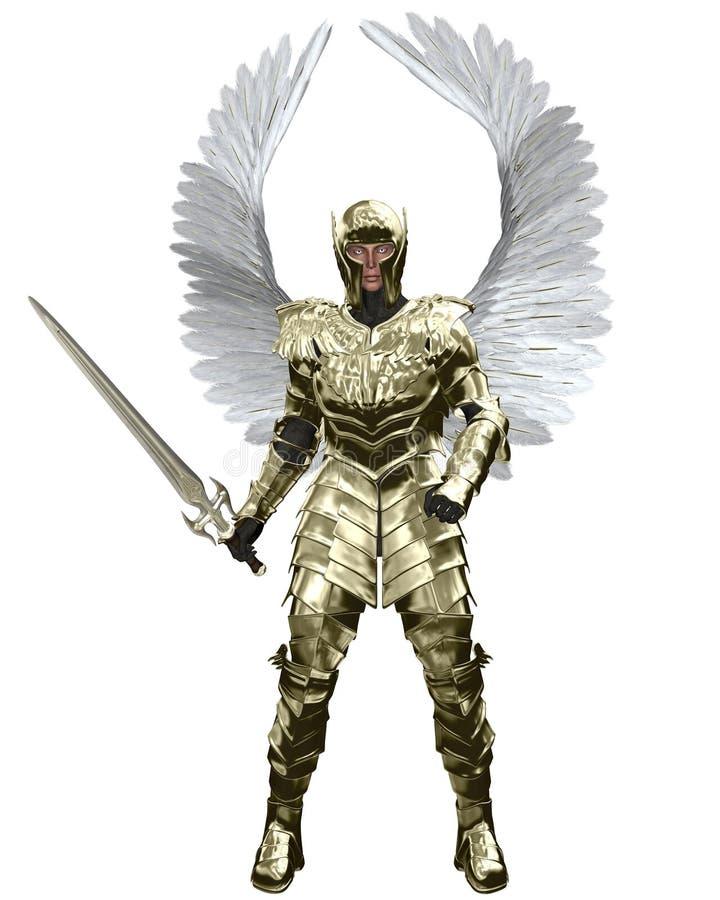 Archangel Michael in Golden Armour stock illustration