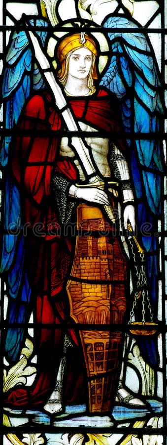 Archangel Michael in stained glass stock photos