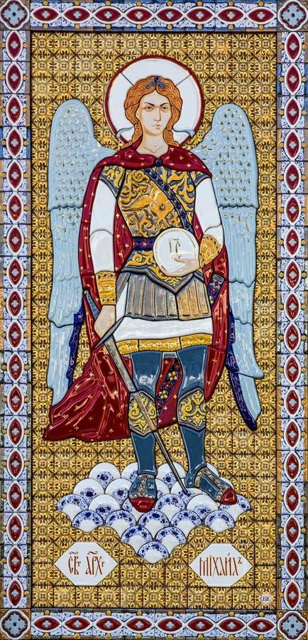 Archangel Michail on Orthodox icon in Kiev Pechersk Lavra monaster stock image