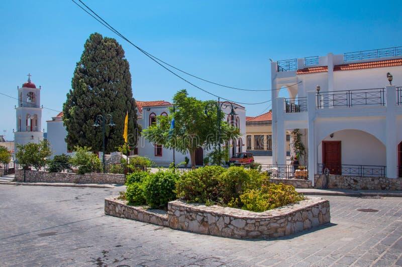 Archangelos, de stad van Griekenland van Archangelos op het Eiland Rhodos, Griekenland royalty-vrije stock afbeelding