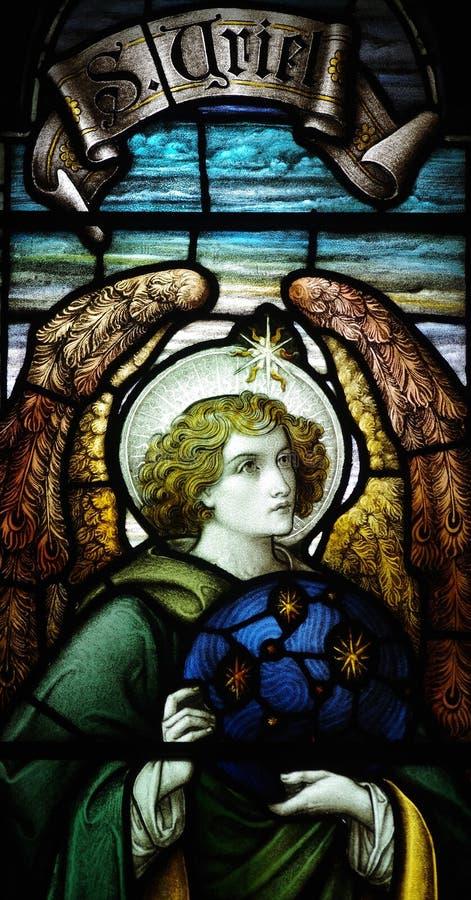 ArchangelUriel en vitral imagen de archivo