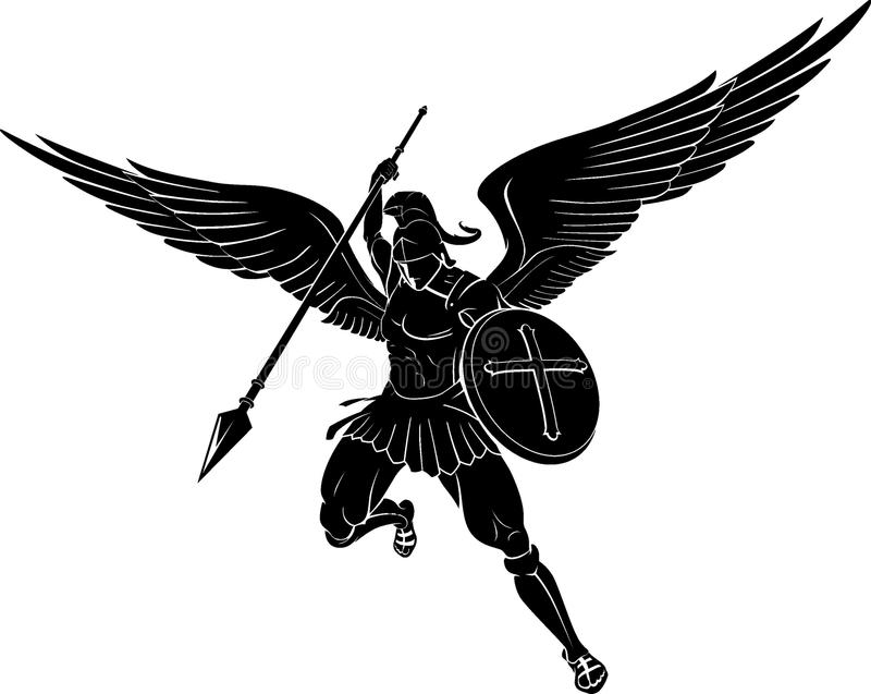 Archanioł władzy strajka dzida ilustracja wektor