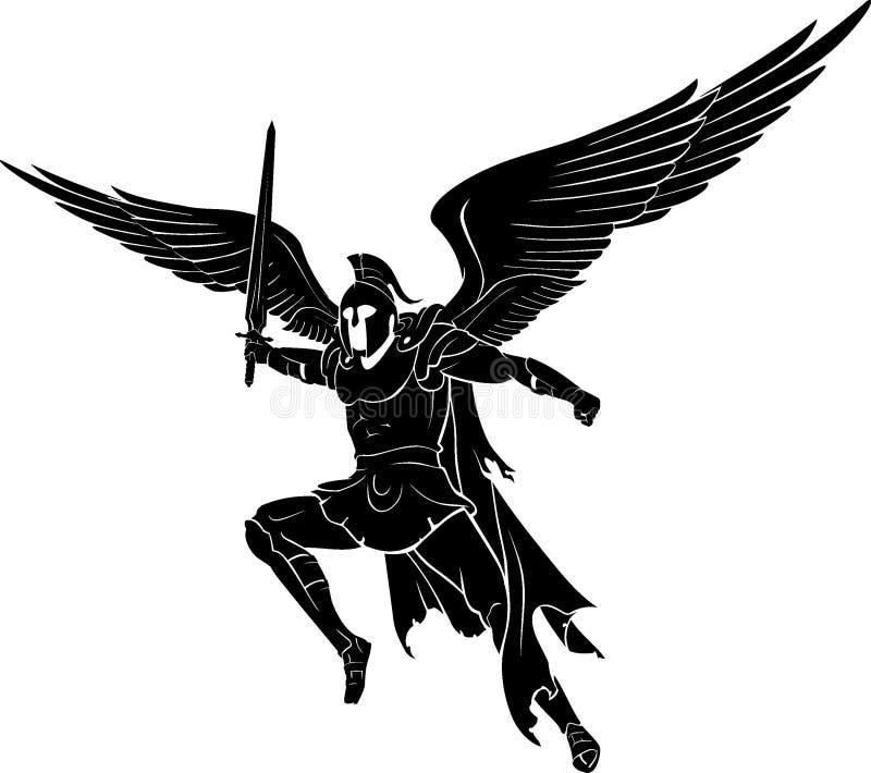 Archanioła latanie i Zwalcza świętą wojnę ilustracja wektor