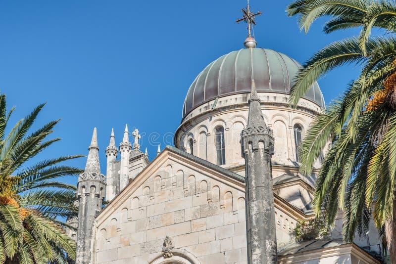 Archanioła Michale ortodoksyjny kościół w Starym miasteczku w Herceg Novi fotografia royalty free
