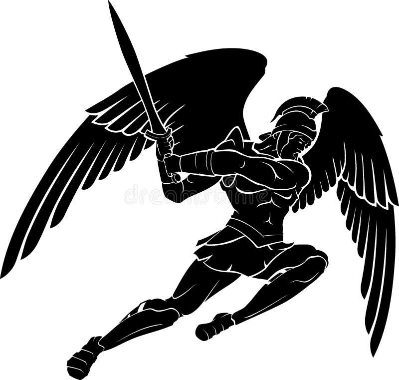 Archanioła wojownika Batalistycznej sceny sylwetka ilustracja wektor