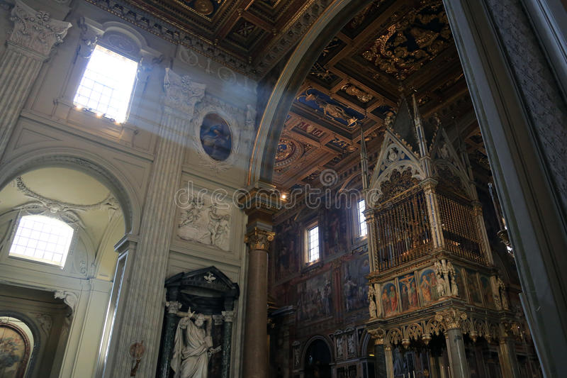 Archbasilica of St. John Lateran - San Giovanni in Laterano - interior, Rome, Italy. Interior of Archbasilica of St. John Lateran - San Giovanni in Laterano royalty free stock image