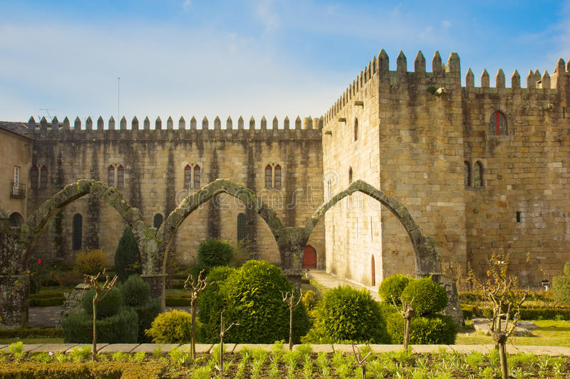 Archbishop's Palace, Braga, Portugal. Garden of St.Barbara's at the walls of the former Archbishop's Palace, Braga, Portugal royalty free stock image