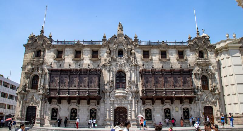 The Archbishop`s Palace in Lima royalty free stock photo