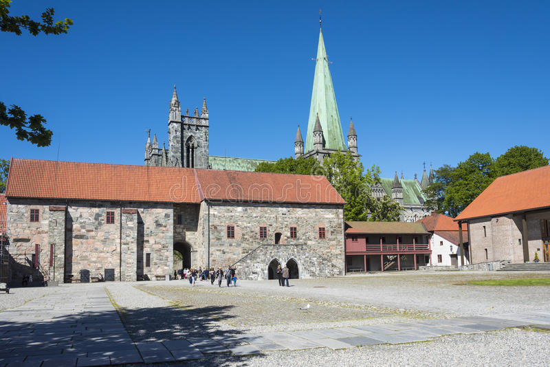 The Archbishop's Palace Museum Trondheim. The Archbishop's Palace Museum (Norwegian: Erkebispegården i Trondheim), Trondheim, Norway. In the background stock images