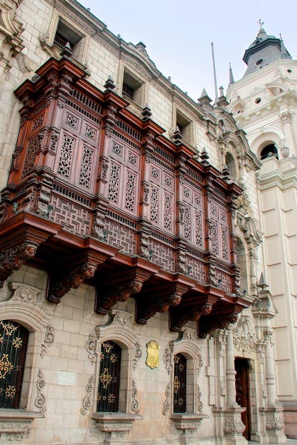 Archbishop's Palace on Plaza Mayor in Lima, Peru. stock images
