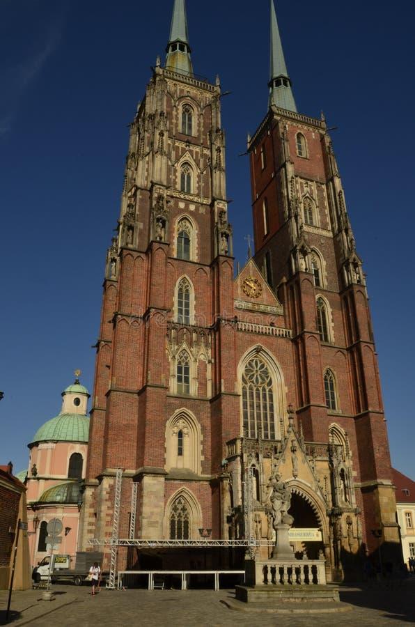 Archcathedral de St John o batista em Wroclaw imagens de stock