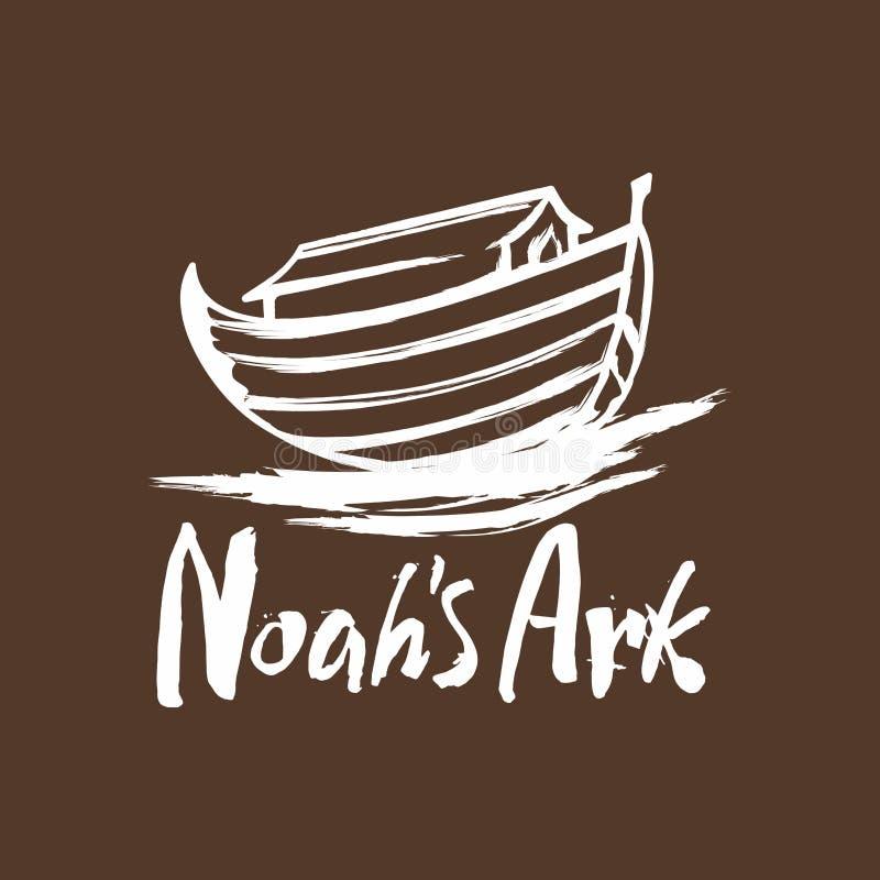 Arche tirée par la main du ` s de Noé et l'inscription illustration libre de droits