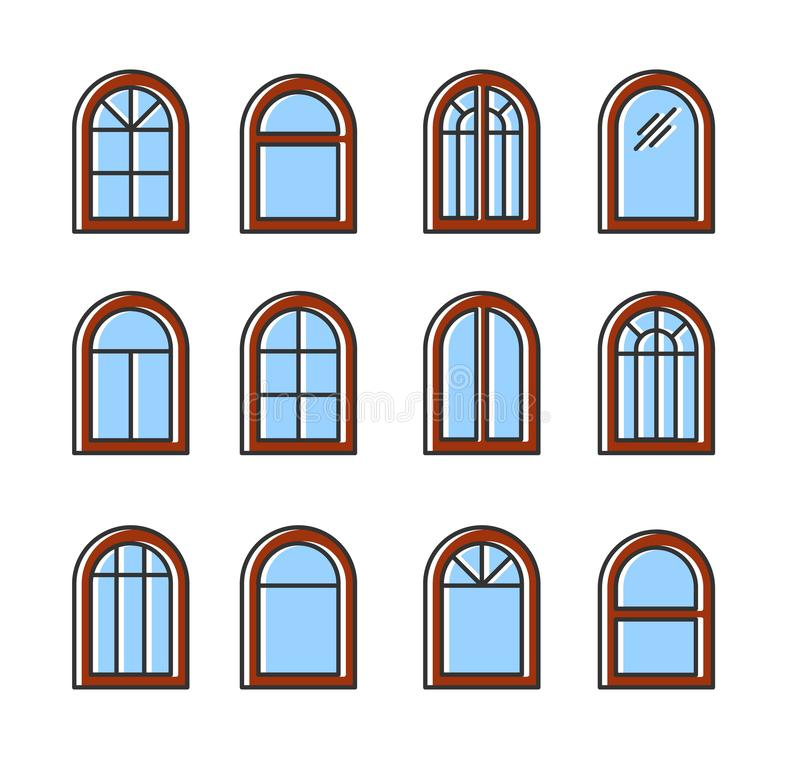 Arched & arc wooden window. Casement & awning window frames. Flat line icon set. Vector illustration. Isolated objects. On white background stock illustration